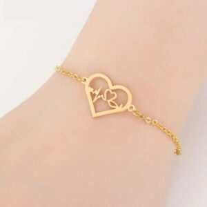Gold Medical Heartbeat ECG Stainless Bracelet 1