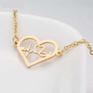 Gold Medical Heartbeat ECG Stainless Bracelet 3