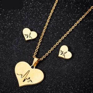 GoldSilver Stainless Steel Ecg Necklaces & Earrings 3