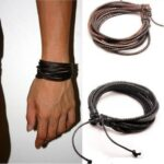 Monochrome Woven Leather Bracelet Pure Hand-painted Leather Rope