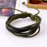 Monochrome Woven Leather Bracelet Pure Hand-painted Leather Rope (2)