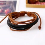 Monochrome Woven Leather Bracelet Pure Hand-painted Leather Rope (7)