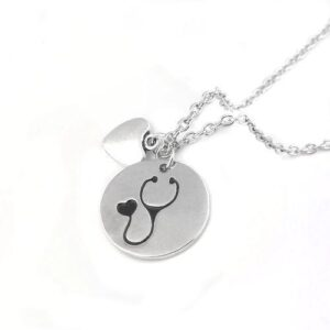 Silver Round Stethoscope Heart Necklace 3